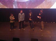 "Cast of ""The Kings of Summer"" (Moises Arias, Gabriel Basso, Nick Robinson) with SFFS Programmer Rod Armstrong at Q&A..."