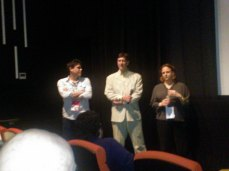"SFFS's Sean Uyehara and Adam Edelstein and Molly Bernstein, the Co-Directors of ""Deceptive Practice: The Mysteries and Mentors of Rick Jay"" at the Q&A following the screening."